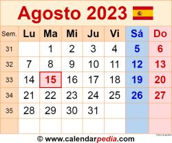 Calendario agosto 2023 como una imagen en formato PNG