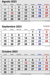 Calendario de 3 meses de agosto/septiembre/octubre 2023 in orientación vertical en formatos Word, Excel y PDF