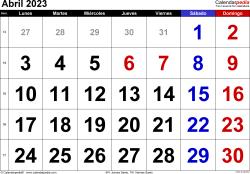 Calendario abril 2023, orientación horizontal, grandes cifras, en formatos Word, Excel y PDF