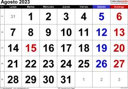 Calendario agosto 2023, orientación horizontal, grandes cifras, en formatos Word, Excel y PDF