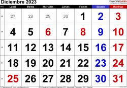 Calendario diciembre 2023, orientación horizontal, grandes cifras, en formatos Word, Excel y PDF