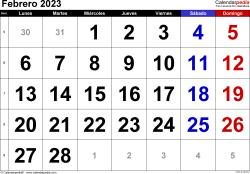 Calendario febrero 2023, orientación horizontal, grandes cifras, en formatos Word, Excel y PDF