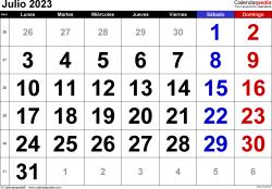 Calendario julio 2023, orientación horizontal, grandes cifras, en formatos Word, Excel y PDF