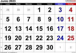Calendario junio 2023, orientación horizontal, grandes cifras, en formatos Word, Excel y PDF