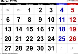 Calendario marzo 2023, orientación horizontal, grandes cifras, en formatos Word, Excel y PDF