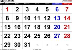 Calendario mayo 2023, orientación horizontal, grandes cifras, en formatos Word, Excel y PDF