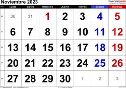 Calendario noviembre 2023, orientación horizontal, grandes cifras, en formatos Word, Excel y PDF