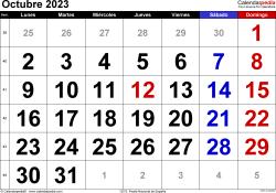 Calendario octubre 2023, orientación horizontal, grandes cifras, en formatos Word, Excel y PDF
