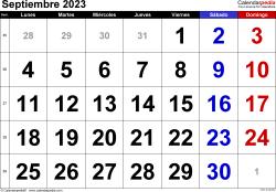 Calendario septiembre 2023, orientación horizontal, grandes cifras, en formatos Word, Excel y PDF