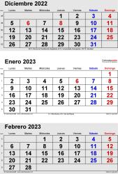 Calendario de 3 meses de diciembre2022, enero2023 y febrero2023 in orientación vertical en formatos Word, Excel y PDF