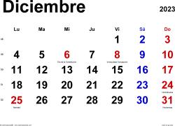 Calendario diciembre 2023, orientación horizontal, clásico, en formatos Word, Excel y PDF