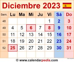 Calendario diciembre 2023 como una imagen en formato PNG