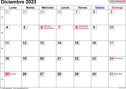 Calendario diciembre 2023, orientación horizontal, cifras pequeñas, en formatos Word, Excel y PDF