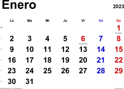 Calendario enero 2023, orientación horizontal, clásico, en formatos Word, Excel y PDF
