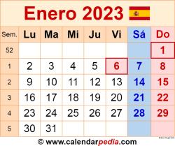 Calendario enero 2023 como una imagen en formato PNG