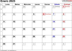 Calendario enero 2023, orientación horizontal, cifras pequeñas, en formatos Word, Excel y PDF