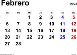 Calendario febrero 2023, orientación horizontal, clásico, en formatos Word, Excel y PDF