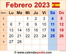 Calendario febrero 2023 como una imagen en formato PNG