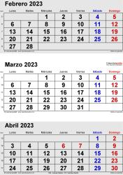 Calendario de 3 meses de febrero/marzo/abril 2023 in orientación vertical en formatos Word, Excel y PDF