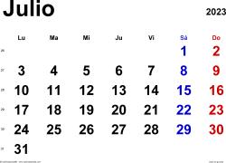 Calendario julio 2023, orientación horizontal, clásico, en formatos Word, Excel y PDF