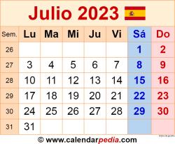 Calendario julio 2023 como una imagen en formato PNG