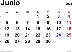 Calendario junio 2023, orientación horizontal, clásico, en formatos Word, Excel y PDF