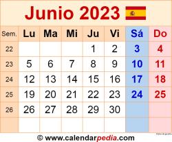 Calendario junio 2023 como una imagen en formato PNG