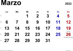 Calendario marzo 2023, orientación horizontal, clásico, en formatos Word, Excel y PDF
