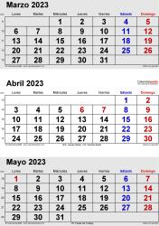 Calendario de 3 meses de marzo/abril/mayo 2023 in orientación vertical en formatos Word, Excel y PDF