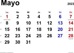 Calendario mayo 2023, orientación horizontal, clásico, en formatos Word, Excel y PDF