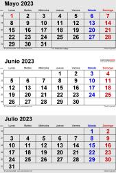 Calendario de 3 meses de mayo/junio/julio 2023 in orientación vertical en formatos Word, Excel y PDF