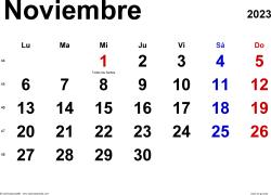 Calendario noviembre 2023, orientación horizontal, clásico, en formatos Word, Excel y PDF