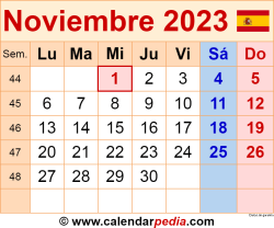 Calendario noviembre 2023 como una imagen en formato PNG