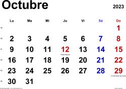 Calendario octubre 2023, orientación horizontal, clásico, en formatos Word, Excel y PDF