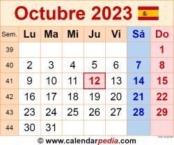 Calendario octubre 2023 como una imagen en formato PNG