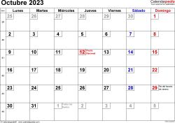 Calendario octubre 2023, orientación horizontal, cifras pequeñas, en formatos Word, Excel y PDF