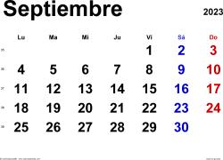 Calendario septiembre 2023, orientación horizontal, clásico, en formatos Word, Excel y PDF