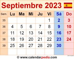 Calendario septiembre 2023 como una imagen en formato PNG