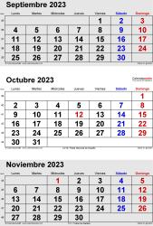 Calendario de 3 meses de septiembre/octubre/noviembre 2023 in orientación vertical en formatos Word, Excel y PDF