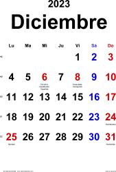 Calendario diciembre 2023, orientación vertical, clásico, en formatos Word, Excel y PDF