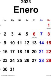 Calendario enero 2023, orientación vertical, clásico, en formatos Word, Excel y PDF