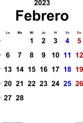 Calendario febrero 2023, orientación vertical, clásico, en formatos Word, Excel y PDF