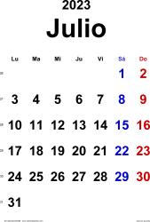 Calendario julio 2023, orientación vertical, clásico, en formatos Word, Excel y PDF