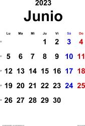 Calendario junio 2023, orientación vertical, clásico, en formatos Word, Excel y PDF