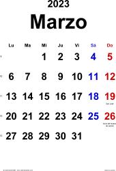 Calendario marzo 2023, orientación vertical, clásico, en formatos Word, Excel y PDF