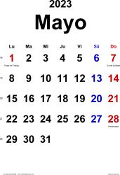 Calendario mayo 2023, orientación vertical, clásico, en formatos Word, Excel y PDF