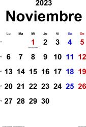 Calendario noviembre 2023, orientación vertical, clásico, en formatos Word, Excel y PDF