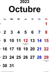 Calendario octubre 2023, orientación vertical, clásico, en formatos Word, Excel y PDF