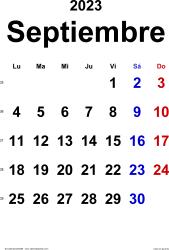 Calendario septiembre 2023, orientación vertical, clásico, en formatos Word, Excel y PDF
