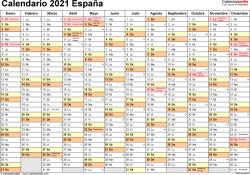 Plantilla 2: calendario 2021 para España en formatos Word, Excel y PDF, horizontal, 1 página